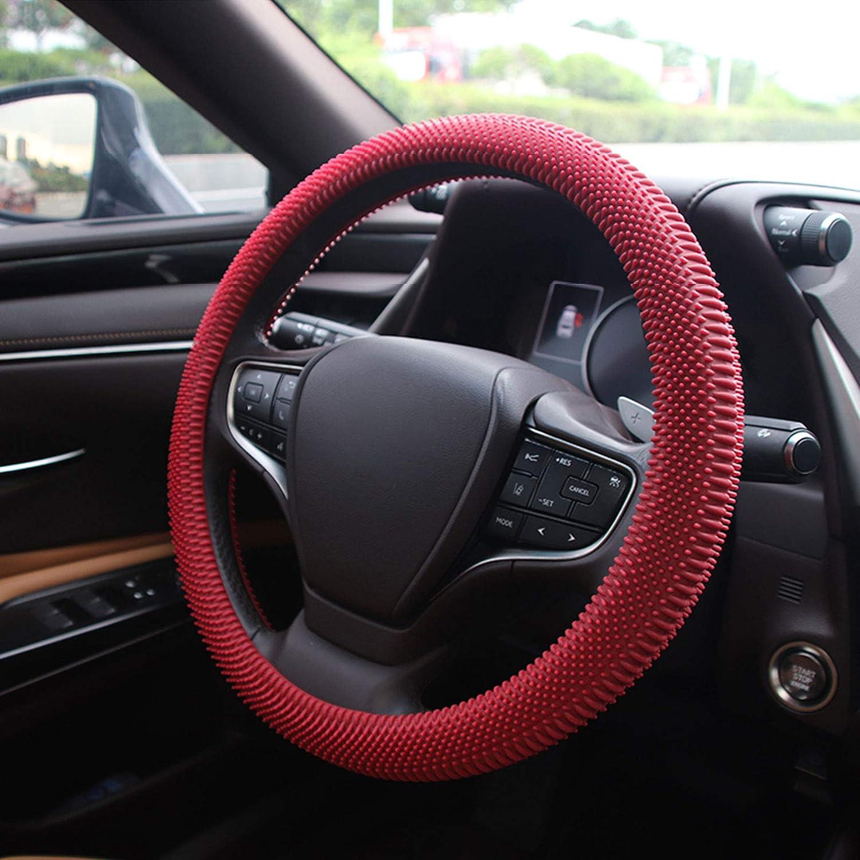 Lonfu Steering Wheel Cover Red - Massage Grip Silicone Steering Wheel Cover Anti-Slip Universal Car Steering Wheel Covers for Women Men 15 Inches