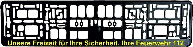 Schwarzer Kennzeichenhalter Unsere Freizeit Für Ihre Sicherheit Ihre Feuerwehr 112 Aufdruck In Gelb Kennzeichenverstärker Kennzeichenträger Kennzeichen Halter Auto