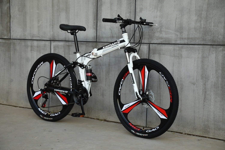 CDFC Deportes/Bicicleta de montaña Plegables 24/26 Pulgadas 3 Cortador de Rueda, Blanco