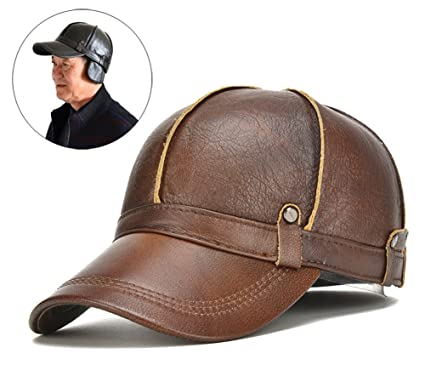 18f2dac038b7 Roffatide Herren Baseball Cap Leder Baseballkappe mit Ohrenklappen  Einstellbar Winter im Freien Warm Braun