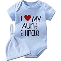 YSCULBUTOL Baby Twins Newborn I Love My Aunt and Uncle Funny Auntie Baby Clothes Infant Girl Short Sleeve Jumpsuit