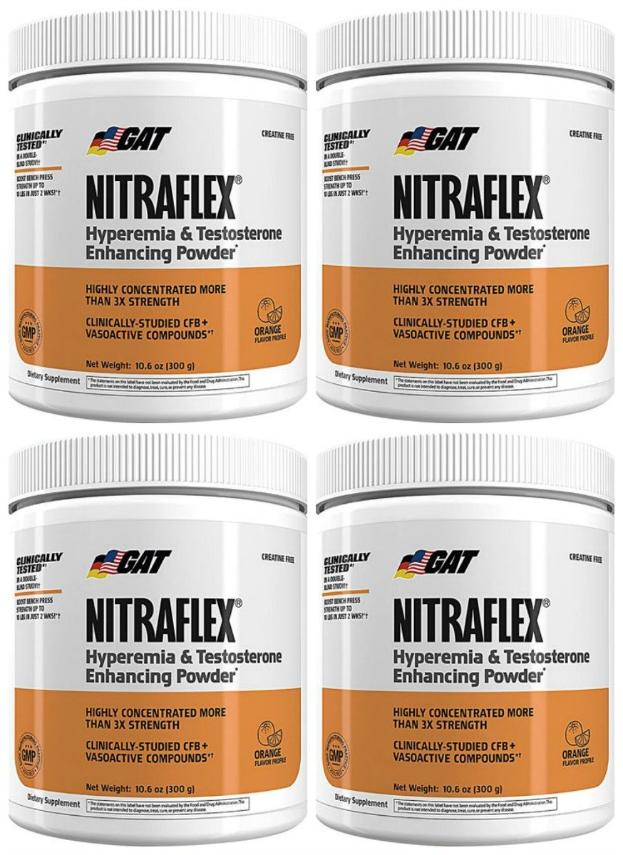 GAT Nitraflex Pre Workout 300gram, 30Sx4 PACKS (Orange)