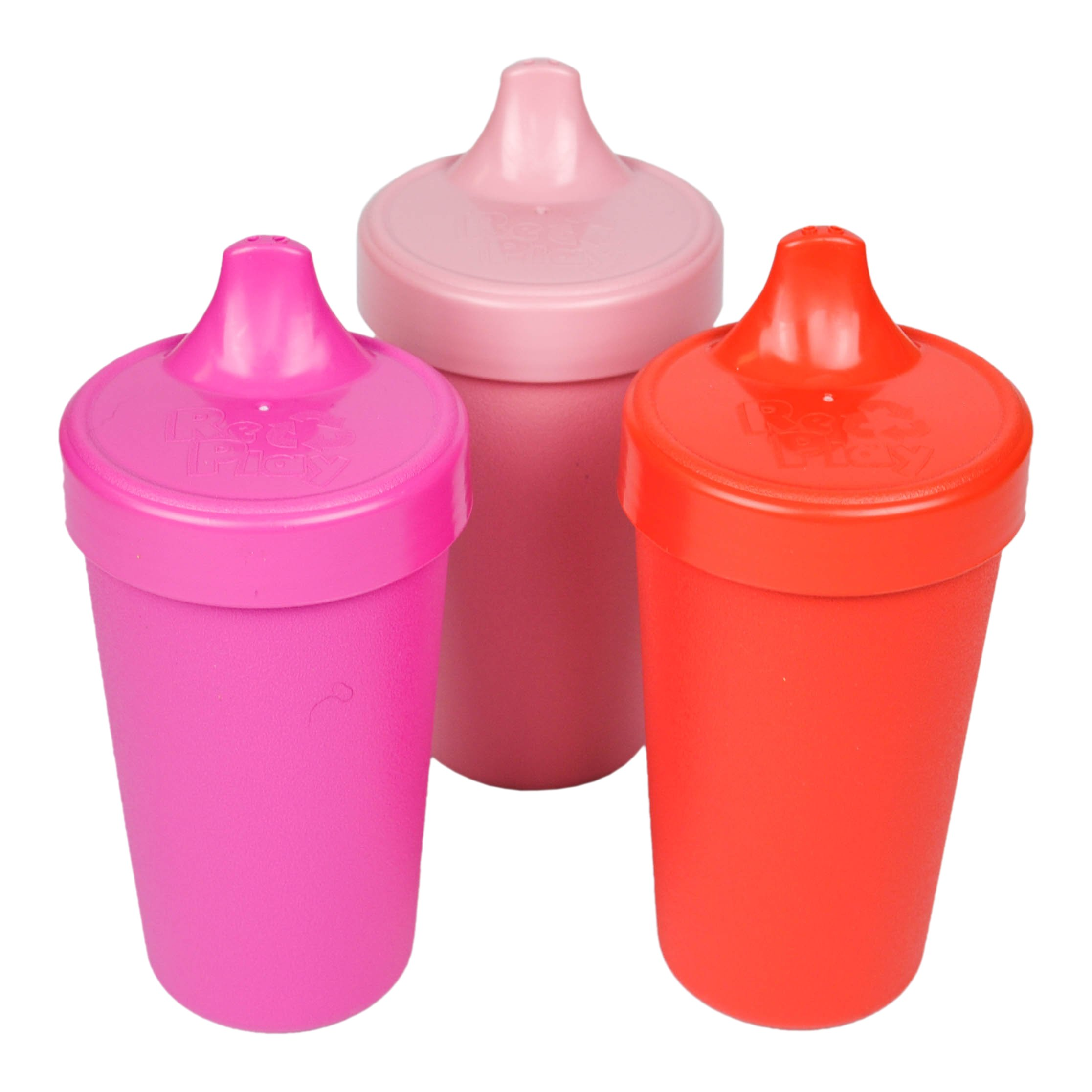 Re-Play Made in the USA 3pk No Spill Sippy Cups for Baby, Toddler, and Child Feeding - Bright Pink, Baby Pink, Red (Valentine)