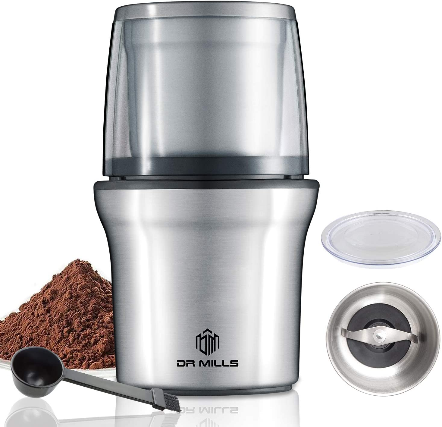 DR MILLS DM-7412N Electric Dried Spice and Coffee Grinder, detachable cup, OK for clean it with water, Blade & cup made with SUS304 stianlees steel