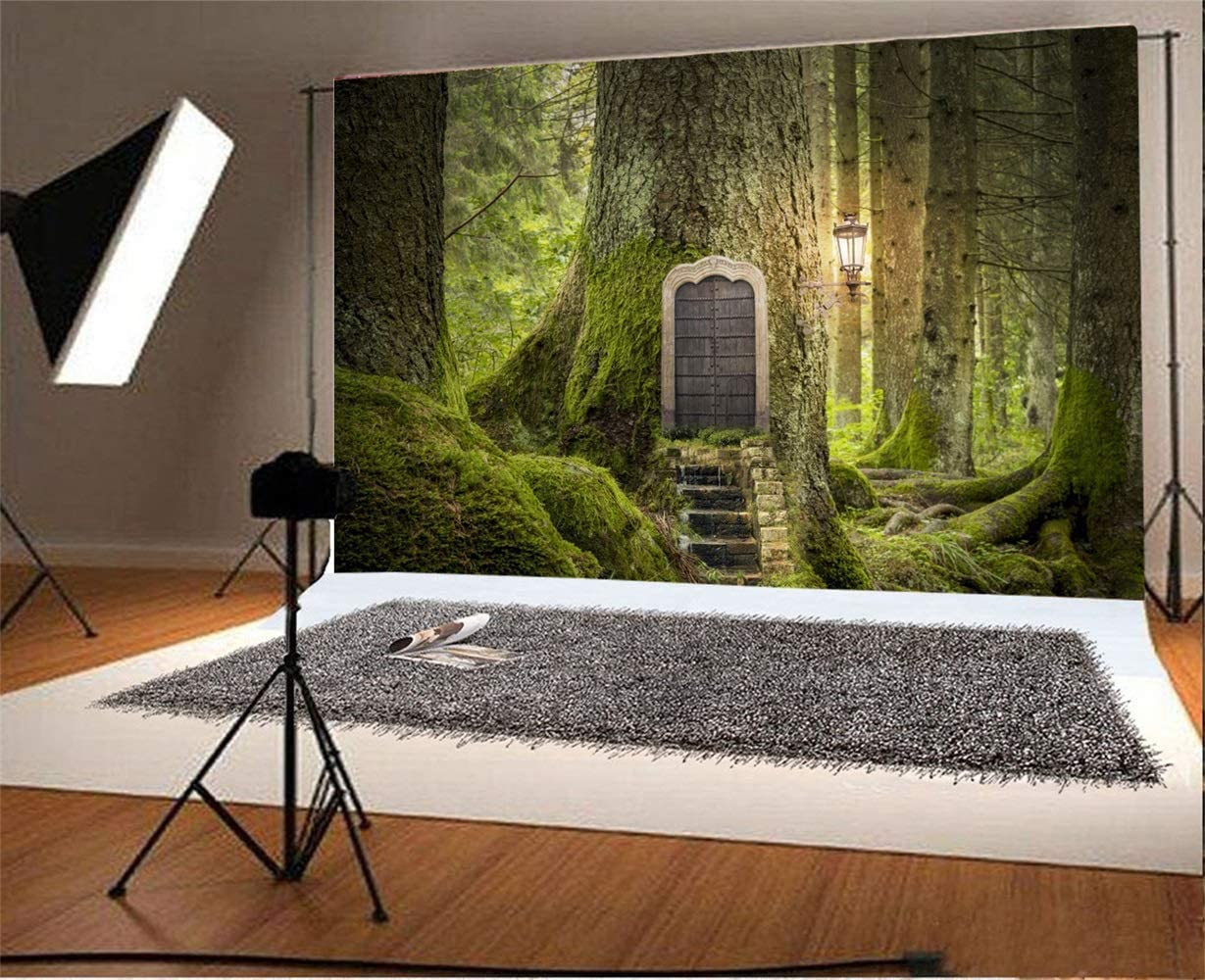 10x6.5 Dreamy Forest Backdrop Polyester Fantastic Huge Mossy Tree Root Door Stairs Lighting Lantern Scene Photography Background Baby 1st Birthday Fairytale Party Banner Kids Child Portrait Shoot