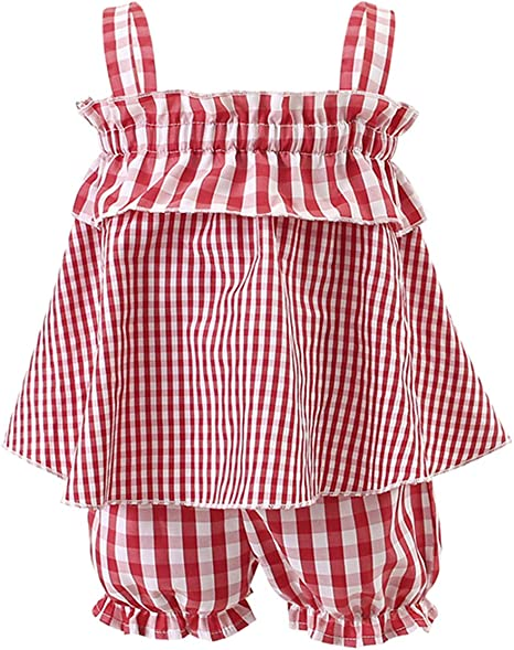 DERCLIVE 2Pcs / Set Niños Bebé Niña Ropa a Cuadros Traje sin Mangas Top Camisa + Bloomer Pantalones Cortos Rojo: Amazon.es: Deportes y aire libre
