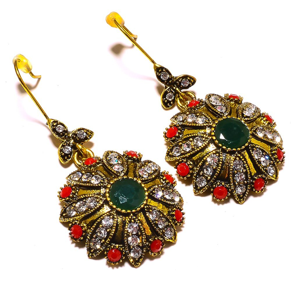 Handmade Jewelry Turkish Style Dyed Emerald Brass Metal Earring 1.5 Red Dyed Ruby