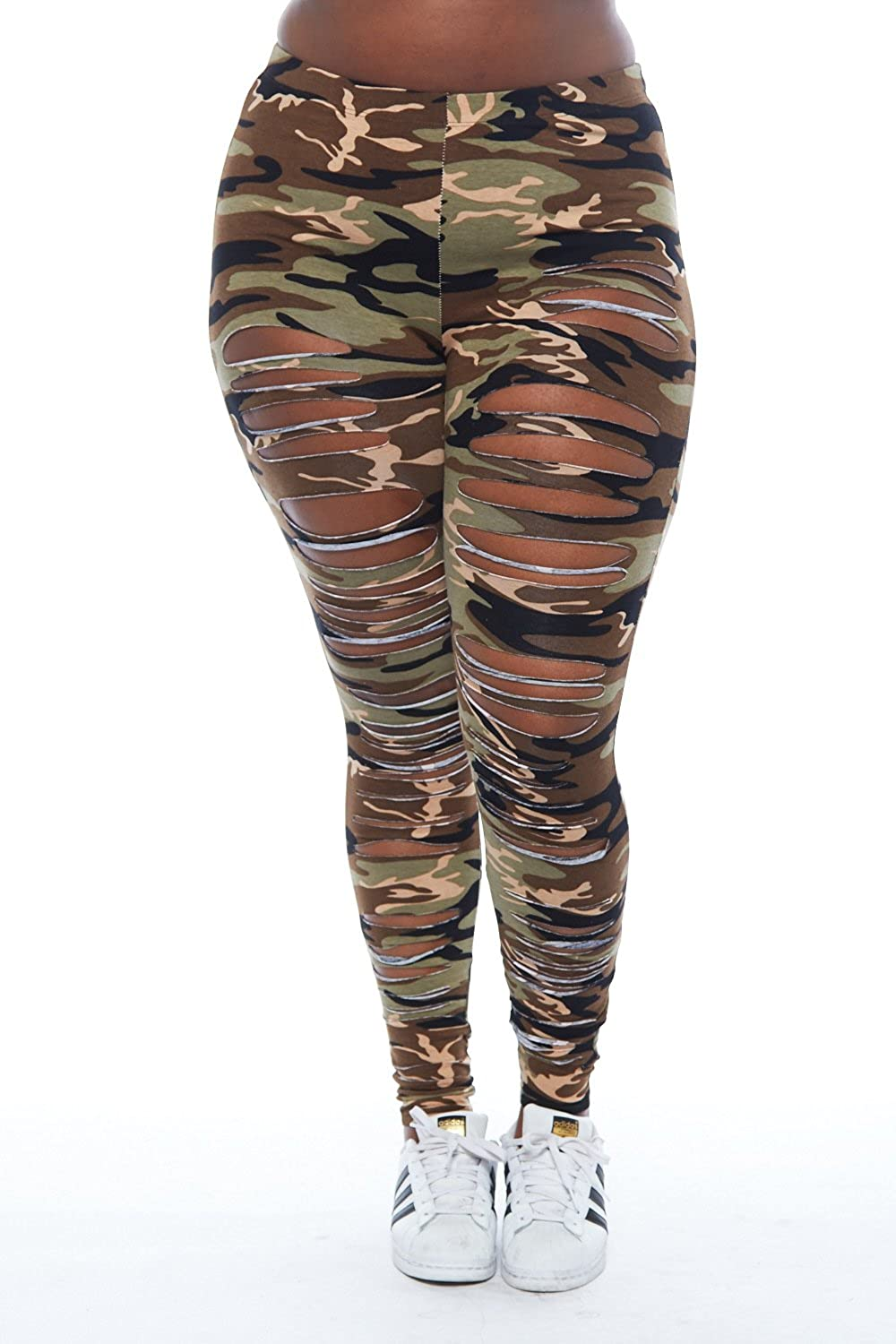 b8ce8072424528 Womens Plus Ripped All Over Camo Print Legging Pants GMP6213 (XL, Camo) at  Amazon Women's Clothing store: