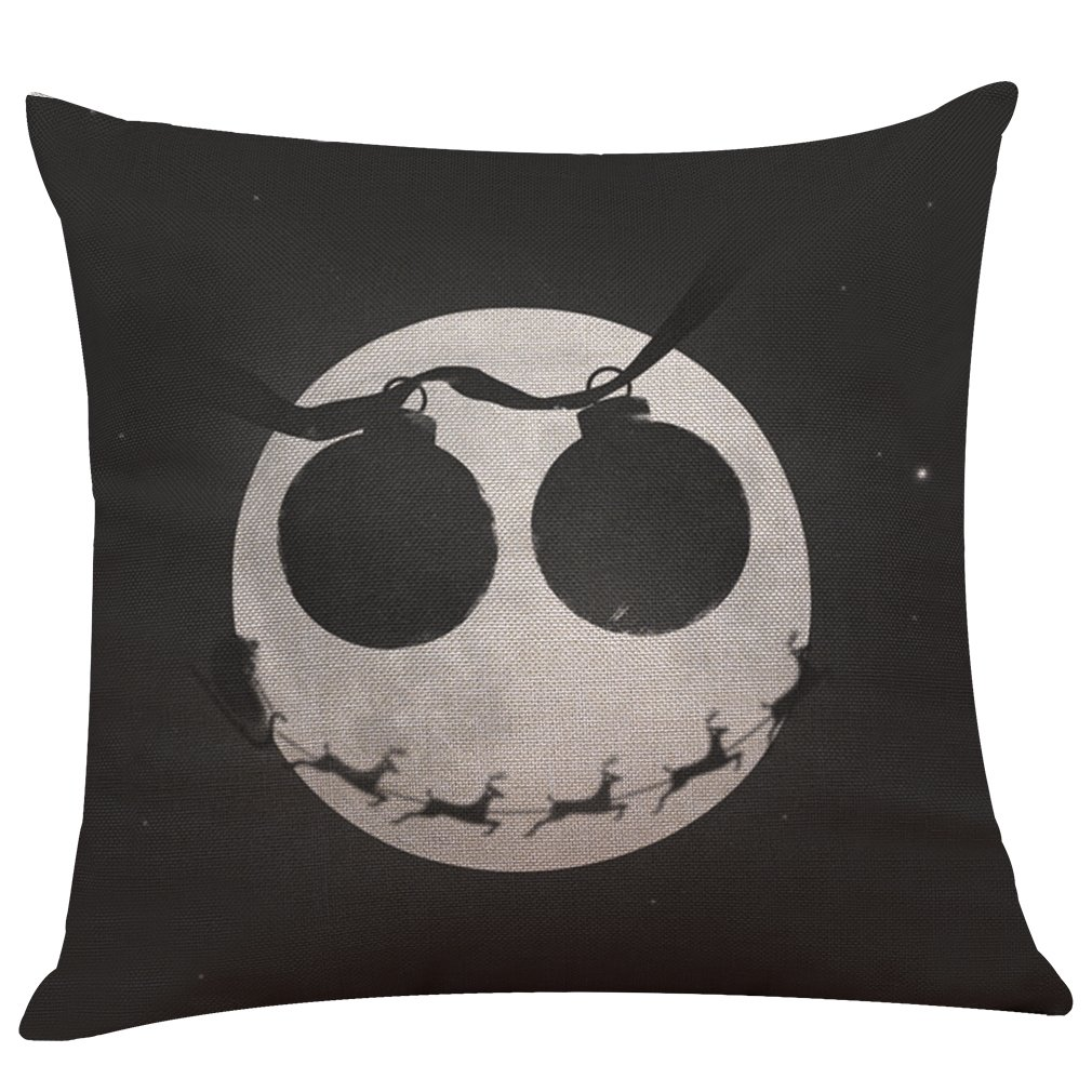 Nightmare Before Christmas Horror Skull Throw Pillow Covers 6 Pack Home Decor Cotton Linen Sofa Throw Pillow Case Cushion Cover 18 x 18 Inch Home Office Sofa Square Pillow Case Decorative