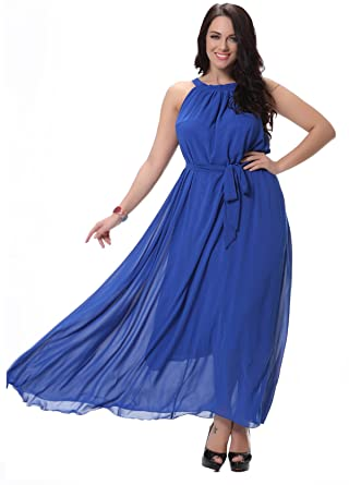 Darceil Women\'s Halter Sleeveless Solid Royal Blue Maxi Bohemian ...