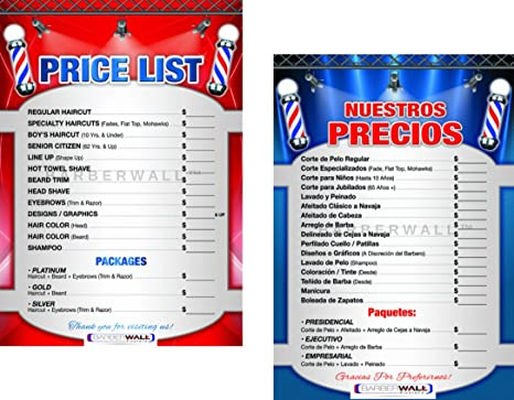 Barber Poster by [ Barberwall ] , Barber Shop Poster, Perfect Size (24 x  36) inches, Already Laminated for Durability , Barber Shop Price List in a