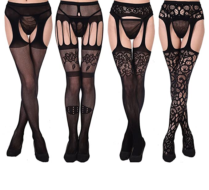 bf5465fbc9071 HOOYEE 4 Pairs Womens Sexy Fishnet Tights Suspender Pantyhose Thigh-High  Stockings Stretchy Stockings Black Waisted Pantyhose(Black 03) at Amazon  Women's ...