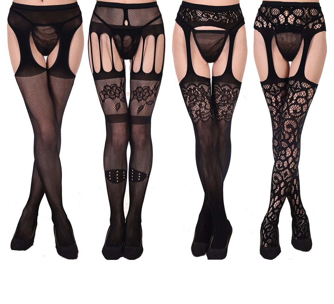 HOOYEE 4 Pairs Womens Sexy Fishnet Tights Suspender Pantyhose Thigh-High Stockings Stretchy Stockings Black Waisted Pantyhose