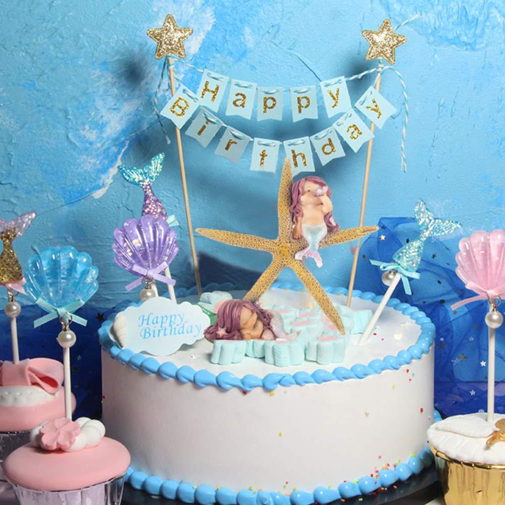 festa della donna acquario regalo di compleanno 12,7 cm decorazione della casa bagno per decorazione torte Simpatico set composto da stella marina e sirena Winko