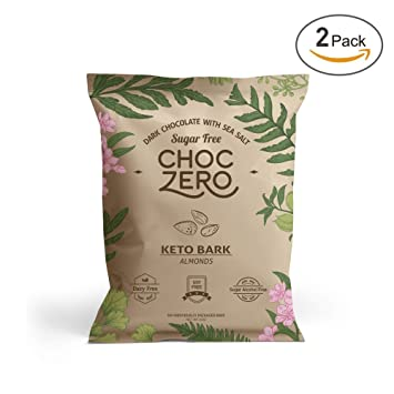Amazon Com Choczero S Keto Bark Dark Chocolate Almonds With Sea