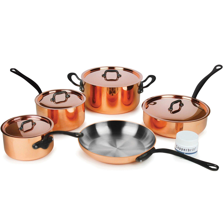 Mauviel M 'heritage m250 C 9個2.5 MM銅調理器具セットwith CastステンレススチールハンドルW /ブラックアイロン仕上げ   B079NL116T