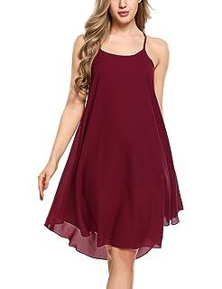 14ae83b1e6e Zeagoo Women s Casual Spaghetti Strap Halter Chiffon Sundress Long Maxi  Beach Party Dresses