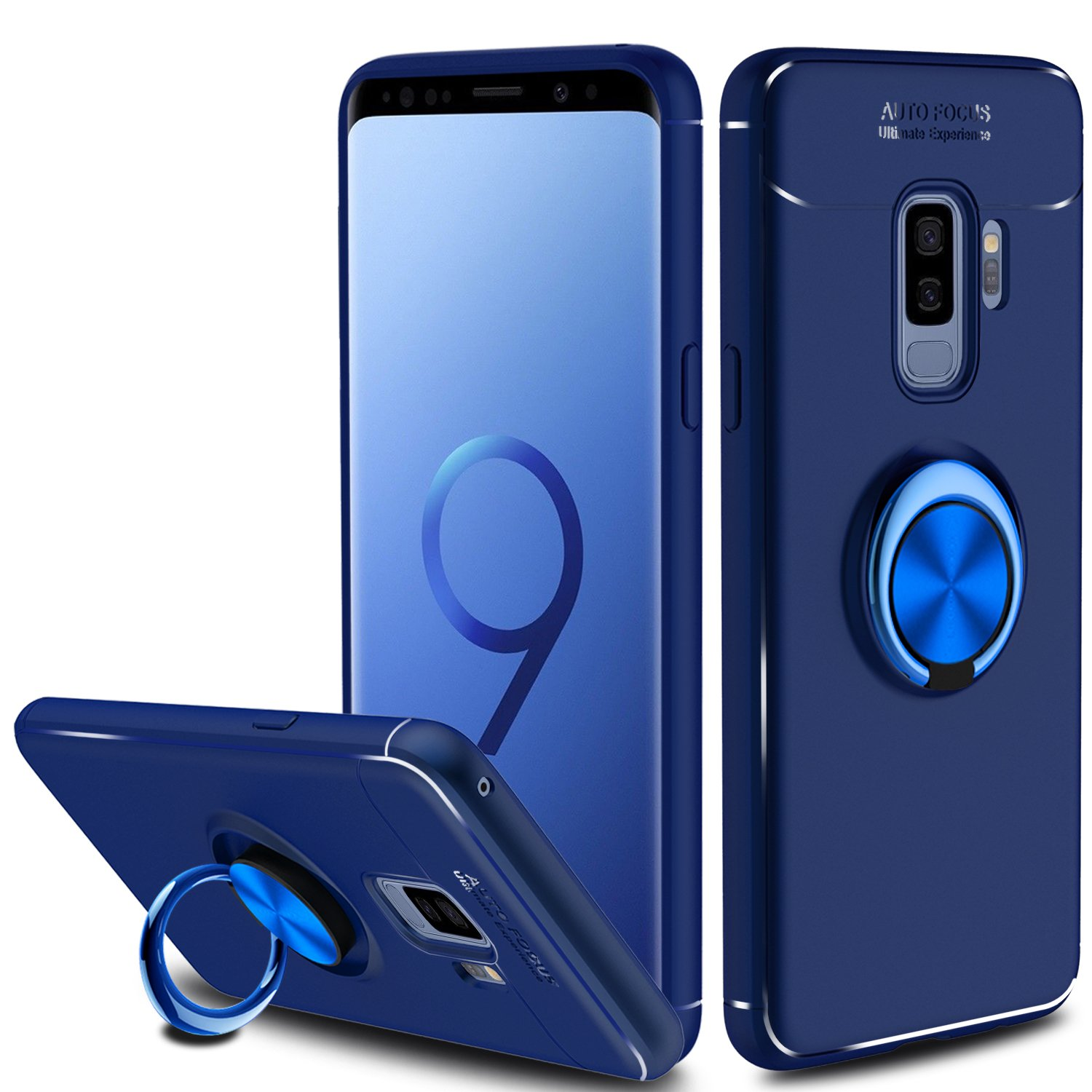hot sales bfc41 4e454 Innens for Samsung Galaxy S9 Plus Case, Anti-Scratch Shockproof Slim 360  Degree Rotation Metal Ring Holder Kickstand with Magnetic Case Cover for ...
