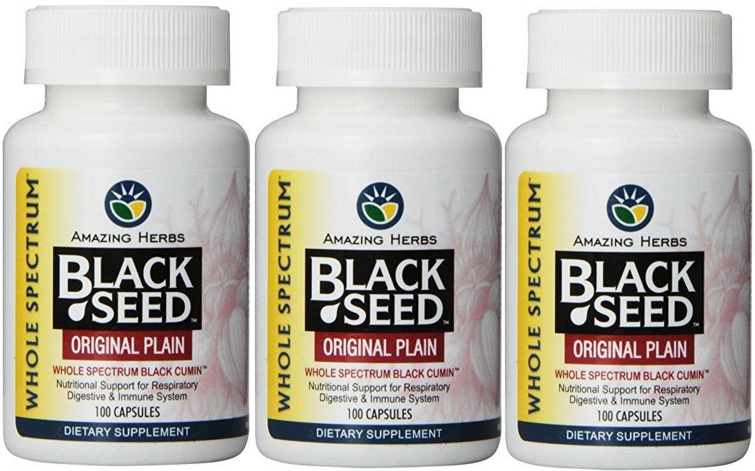 Amazing Herbs Black Seed Original Plain 475mg - 100 Vegetarian capsules (3-pack)