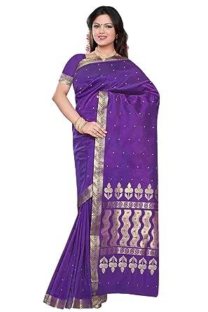 94c032ed879d4b Amazon.com  Indian Selections - Purple - Benares Art Silk Sari Saree  (India)  Clothing