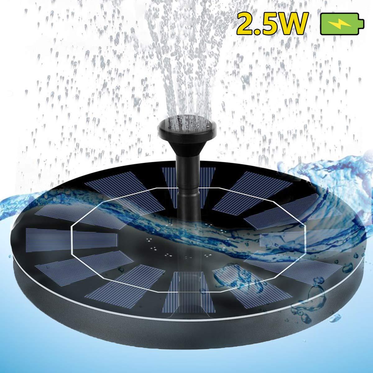 DIWUJI Solar-Brunnenpumpe Vogelbad Springbrunnen f/ür Gartenteiche Wasser Solarbrunnen zum Garten Schwimmbad Teichpumpe Aufger/üstet mit Eingebaut Batterie-Backup 2,5W Kreis Schwimmender Solarpanel