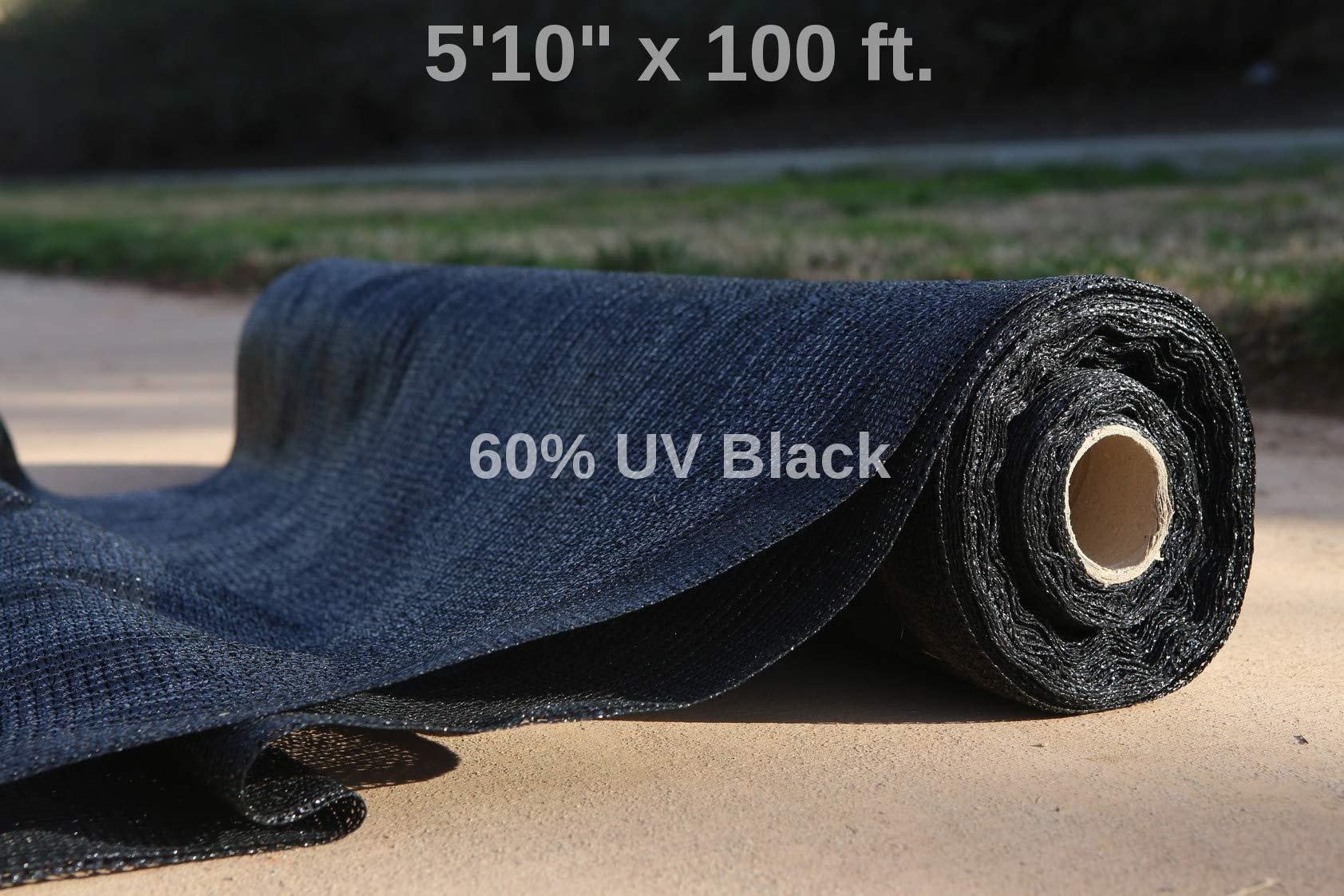 WindscreenSupplyCo 5'10'' x 100 ft. Bulk Shade Cloth 60% Black (6)