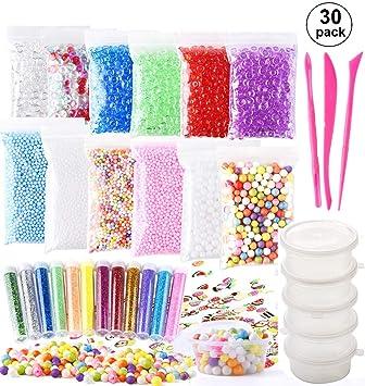 (30 unids) OOTSR accesorios de limo para niños, kit de limo de diy Incluye bolas de espuma ...