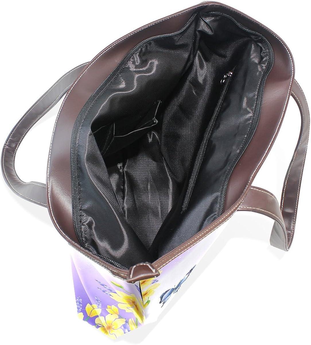 Women Large Tote PU Leather Shoulder Bags Spring Butterfly Ladies Handbag