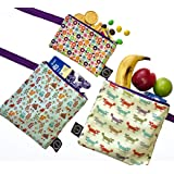 HerStory Premium Reusable Sandwich Snack Bags 3 Set DishwasherSafe Waterproof BPAFree No Allergy Lightweight Durable EcoFriendly Washable FoodSafe Cotton Cloth NonToxic Lunch Adults Kids