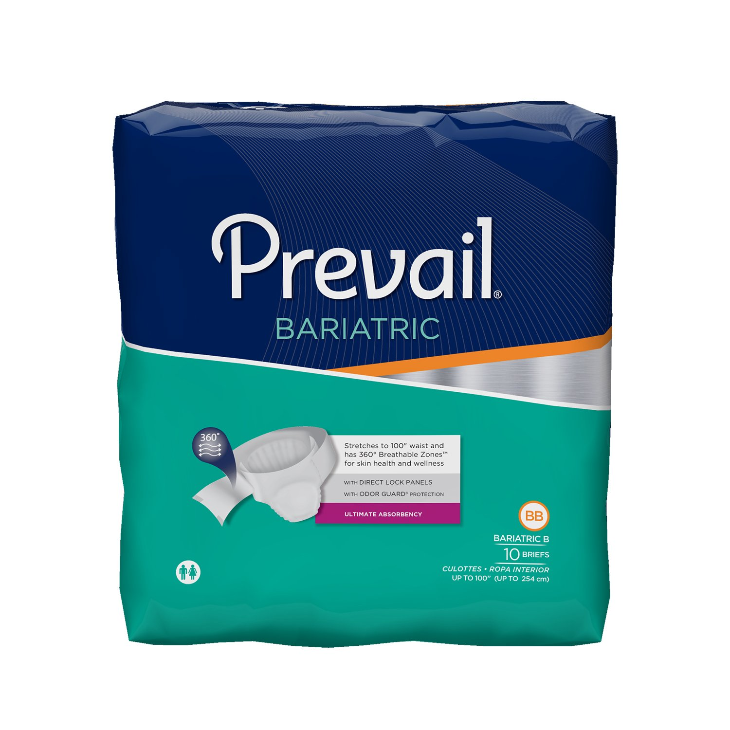 Prevail Bariatric Ultimate Absorbency Briefs, Size B, 10-Count