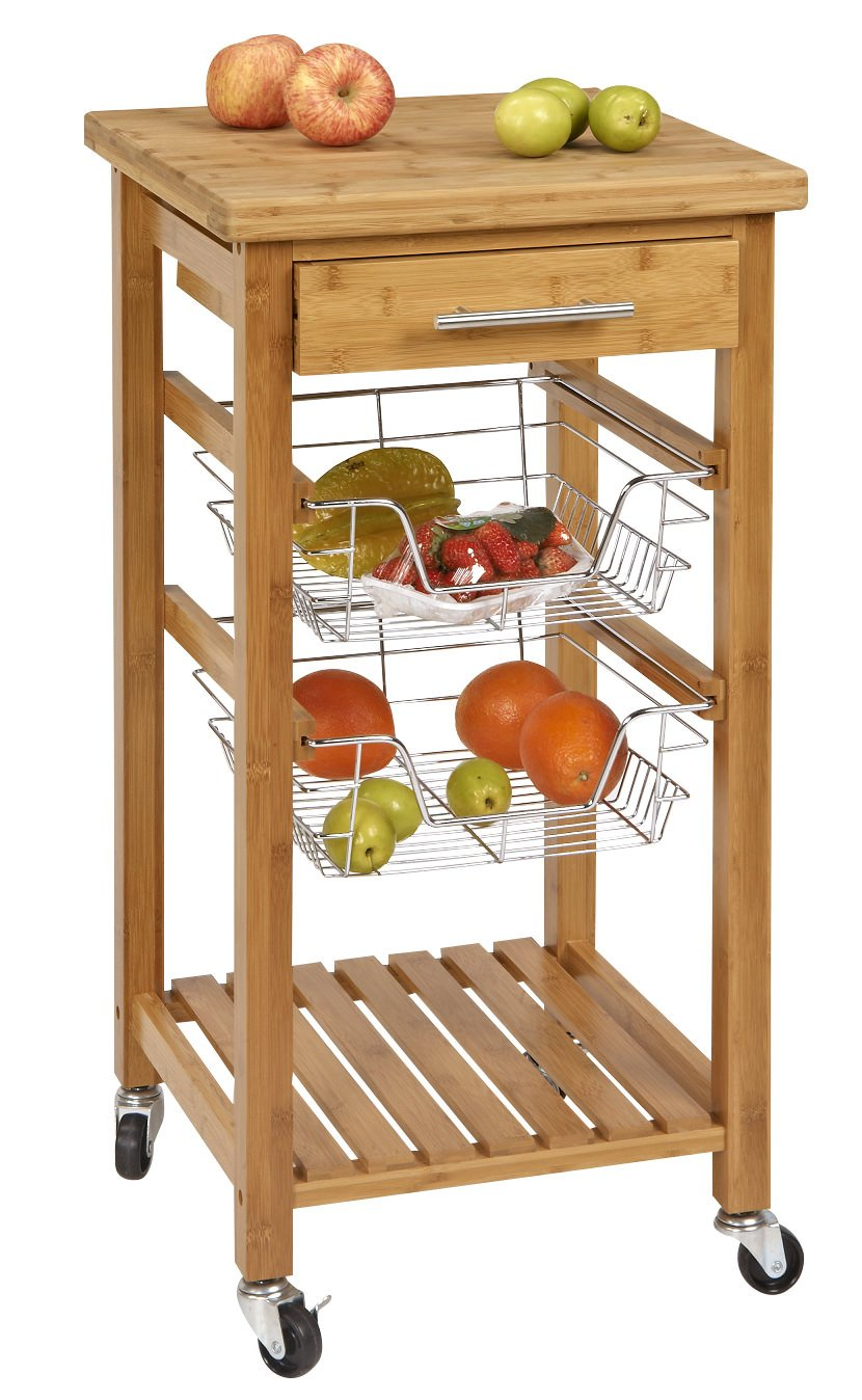 SpaceMaster SM-CSK-007 Rustic Bamboo 1 Drawer Rolling Kitchen Cart with Wire Storage Baskets, Brown