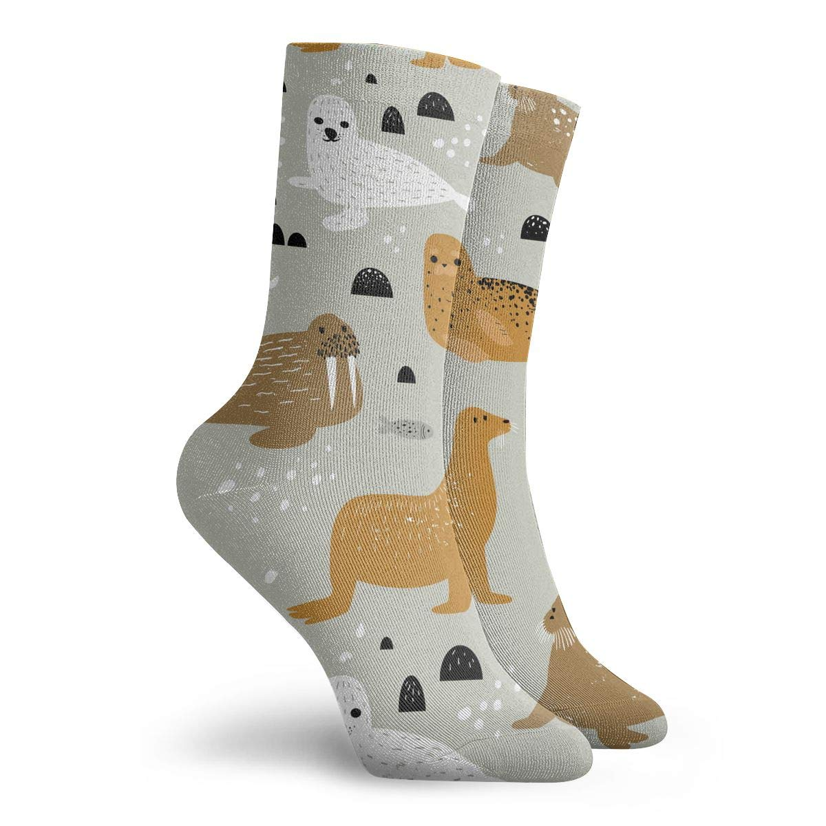 Women Men Seal And Walrus Pattern Cushion Crew Socks