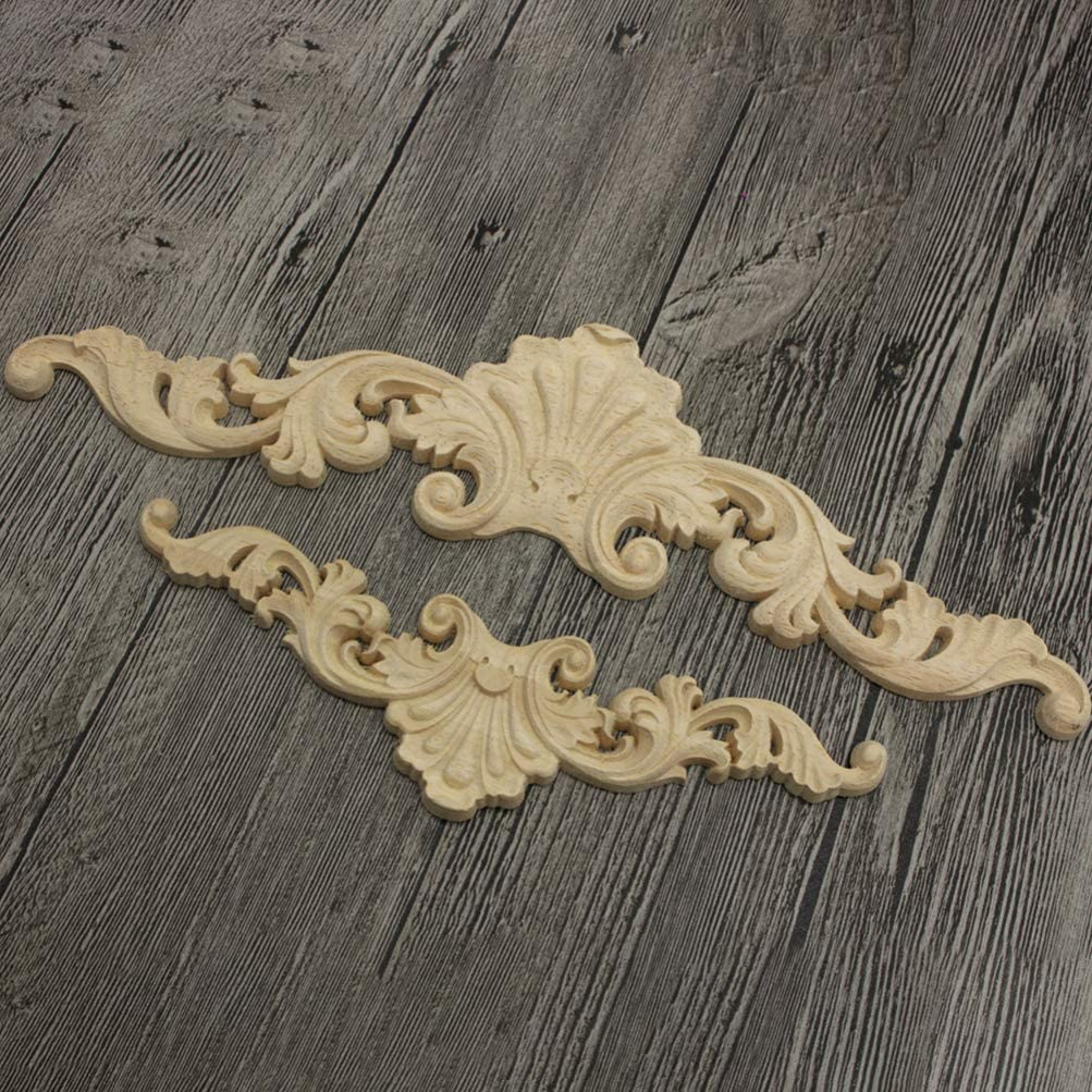 0.8cm 5 SUPVOX 2pcs Wooden Long Carved Onlay Appliques Unpainted Onlay Appliques European Style Carved Decals for Frame Door Cabinet Furniture Decorations 20