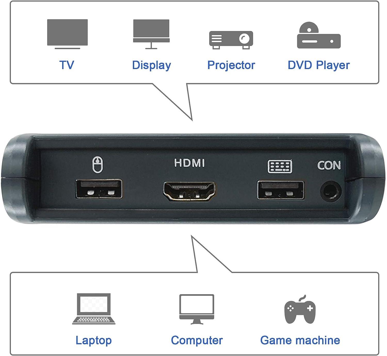 Tasto di Scelta Rapida Non Supportato Arkidyn Switch HDMI KVM 2 Porte USB Commutatore Supporto 4K @ 30Hz ECC Compatibile Windows//Linux//Mac pu/ò Connettersi a HUB