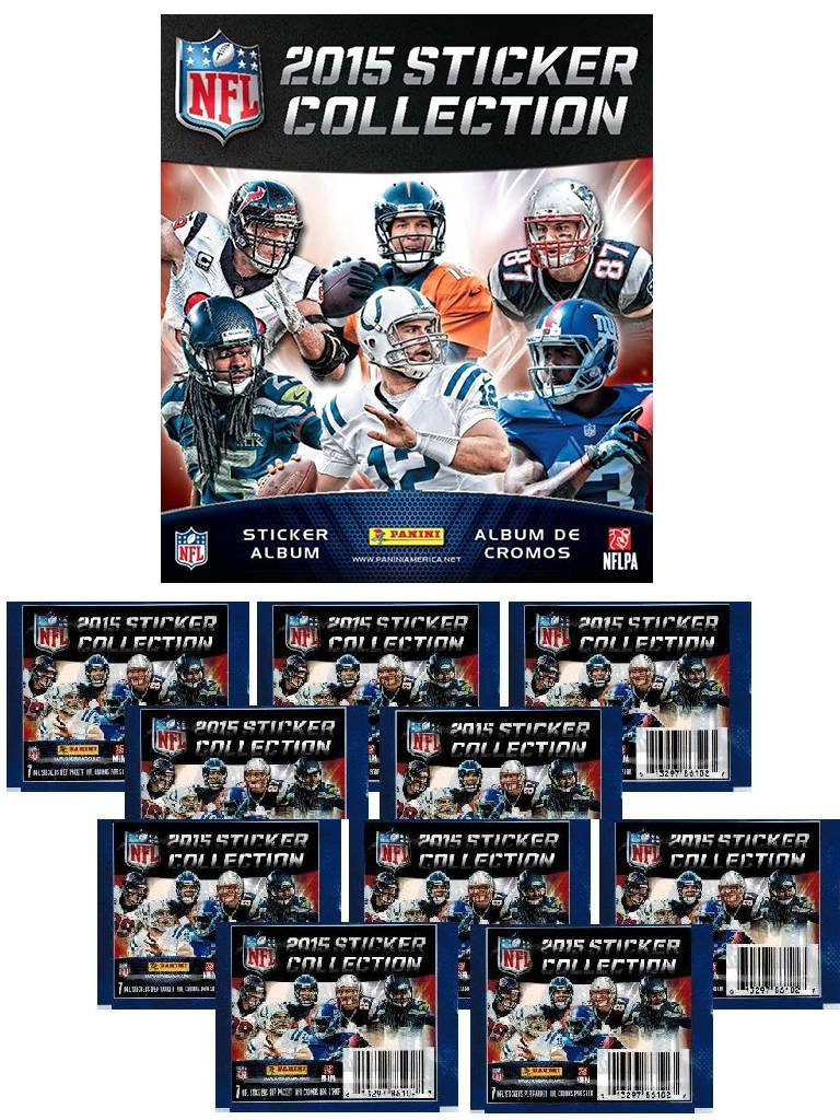 COMBO DEAL - 2015 NFL Stickers - Official NFL Sticker Collection - Collector's Album + 20 NFL Sticker Packets (150 Football Card Stickers)