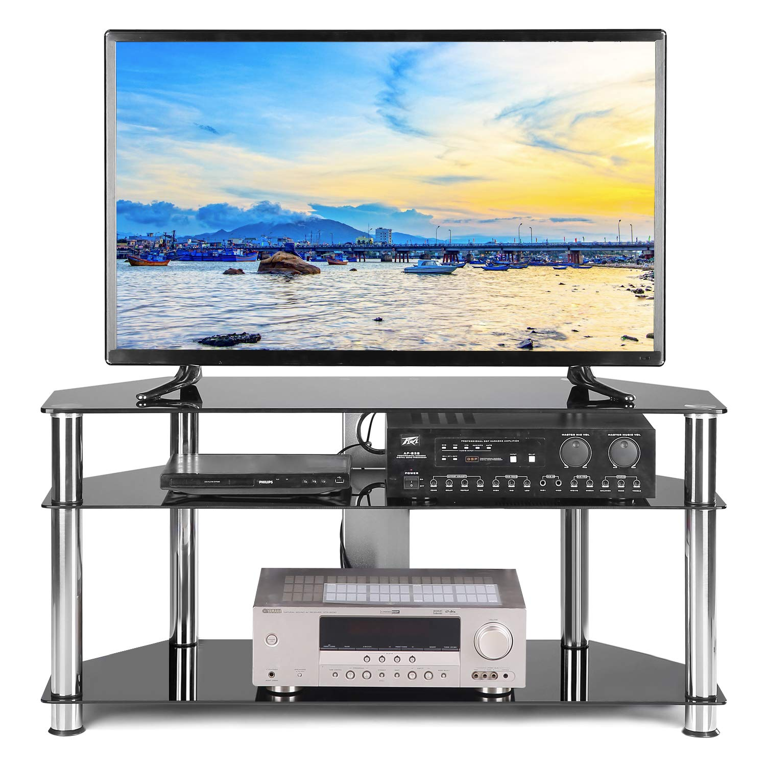 TAVR Swivel Tabletop Universal TV Base Stand with Height Adjustable Mount for 27 32 37 42 47 55 inch LCD LED Flat Screen TV Tempered Glass Base Wire Management,Weight 88Lbs,VESA 400x400mm UT1002X