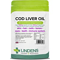 Lindens Cod Liver Oil 1000mg Capsules | 360 Pack | High in Omega 3, Vitamins A & D Contributes Towards Normal Skin, Hair, Nails, Bones, Eyes, Teeth, Brain & Immune System