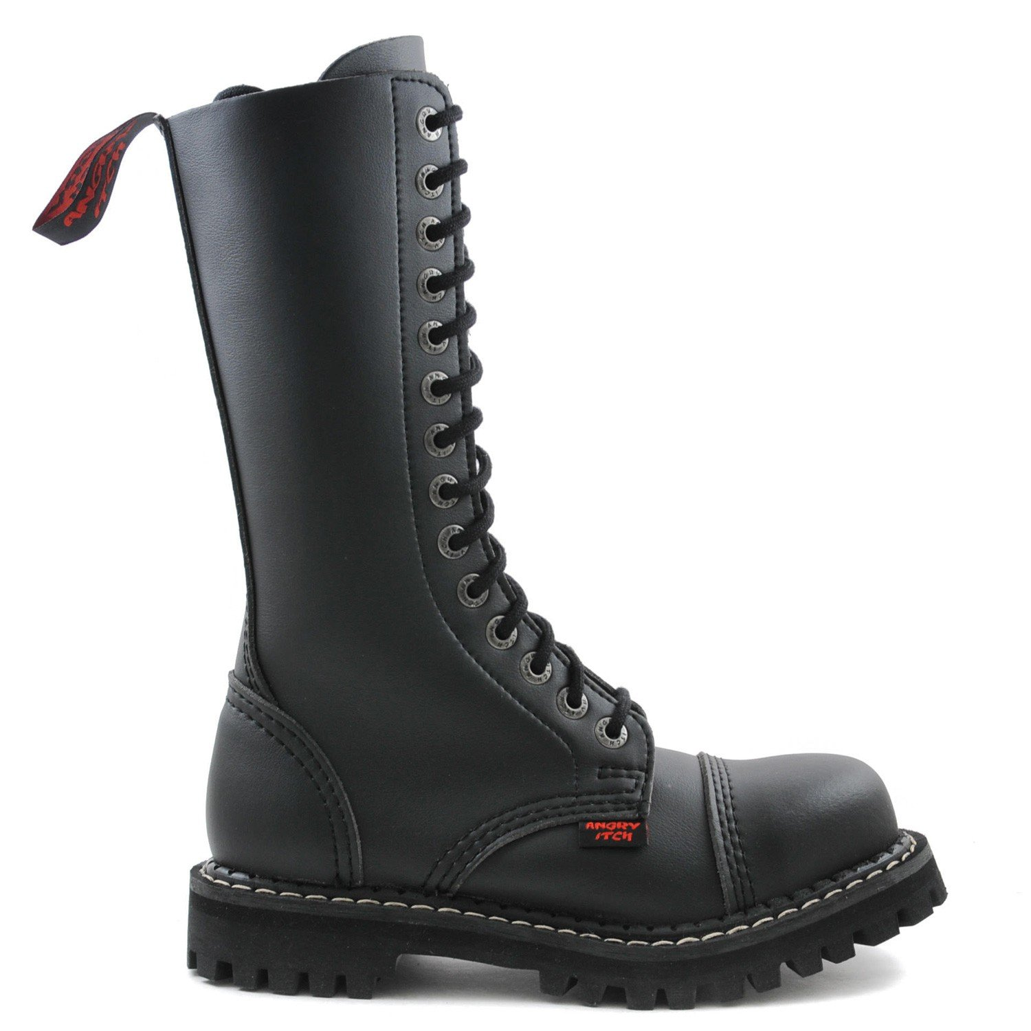 Angry Itch Itch Itch - 14-Loch Gothic Punk Army Ranger Armee schwarze vegane Stiefel mit Stahlkappe 36-48 - Made in EU  692e84