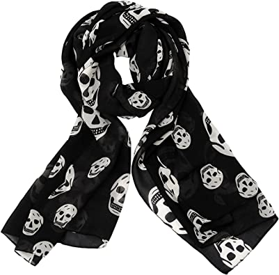 Totenkopf Halstuch Loopschal Skull Gothic Style Punk Tuch Neu weiß grau Schal