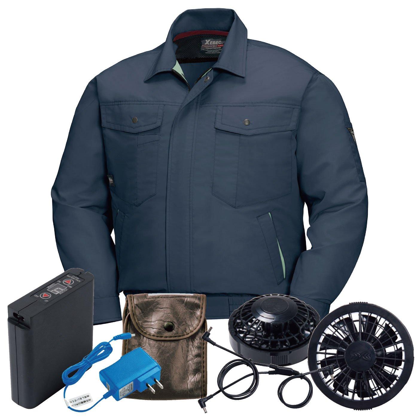 XEBEC(ジーベック) 空調服 ファン付き 長袖ブルゾン ジーベック XEBEC 空調服セット メンズ xb-xe98007-l 【空調服+ファンバッテリーセット】 B07CXG1D6Z M|チャコールグレー/黒ファン チャコールグレー/黒ファン M