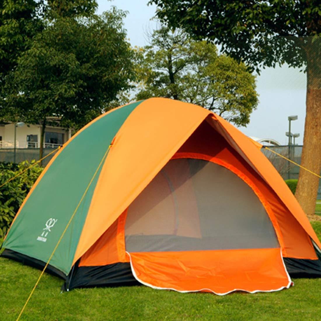 Klerokoh 3 und 4 Personen Zelt, Outdoor-Zelt für Wilde Camping (Farbe : Orange Grün)