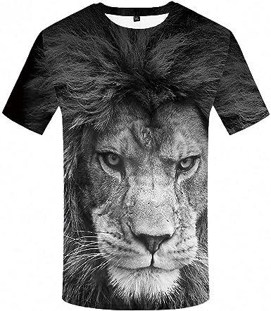 Amazon Com Camiseta Con Diseno De Leon De Animales Tallas Grandes Color Negro Y Blanco Camiseta Con Impresion 3d Clothing