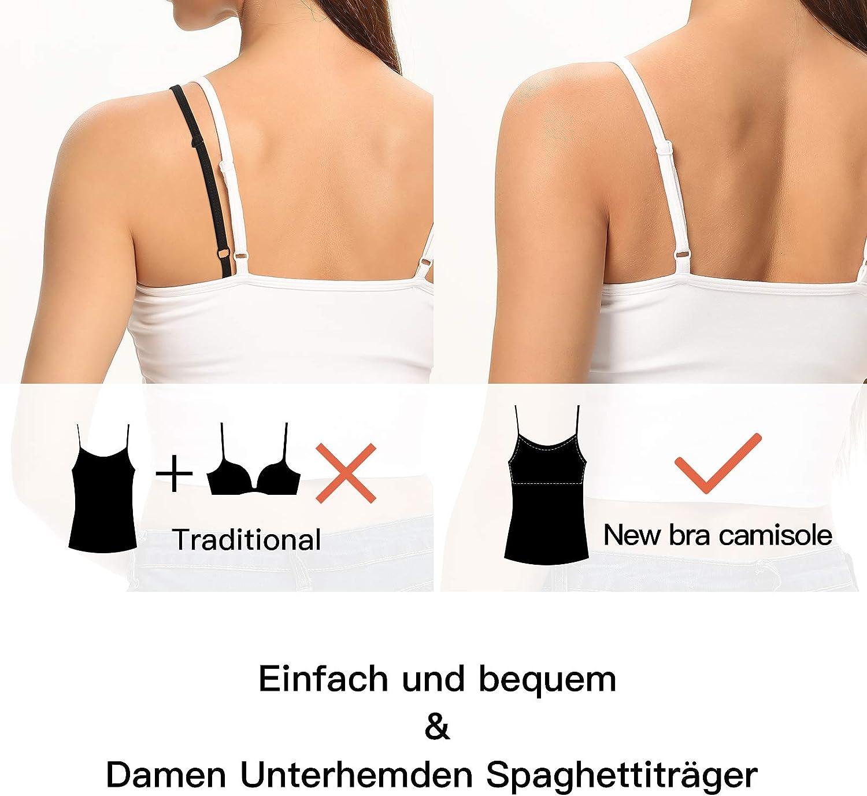 SLIMBELLE Mujer Camiseta de Tirantes con Sujetador Integrado Correas Ajustables Cuello Redondo Chaleco B/ásico Top