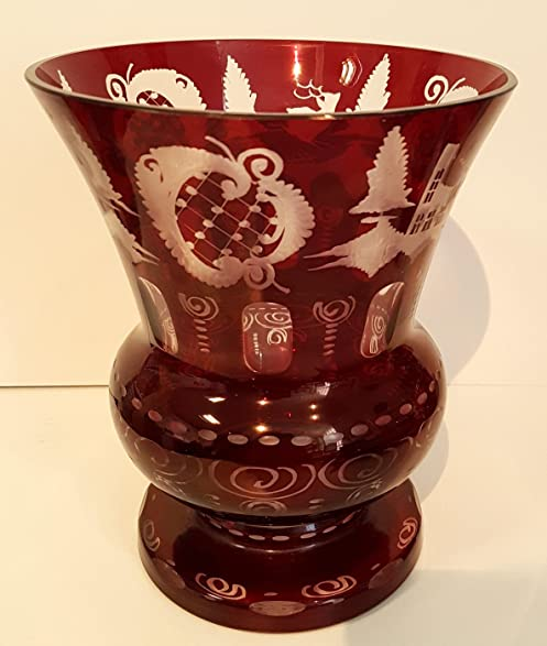 Amazon Vase Antique Oval Hand Cut Bohemian Glass Vase Ruby Red