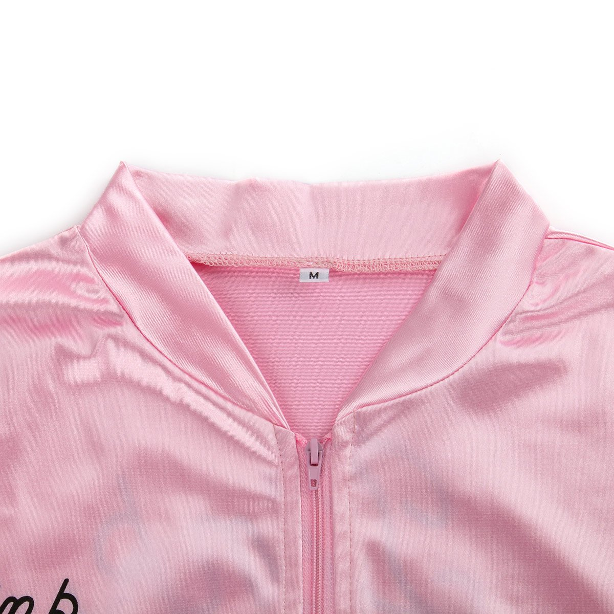 COSFLY Ladies 50S Grease T Bird Danny Pink Satin Jacket Halloween Cosplay Costume with Neck Scarf (X-Large) by COSFLY (Image #6)