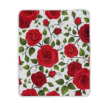 Amazon.com: Chen Miranda rosas rojas Patrón Manta super ...