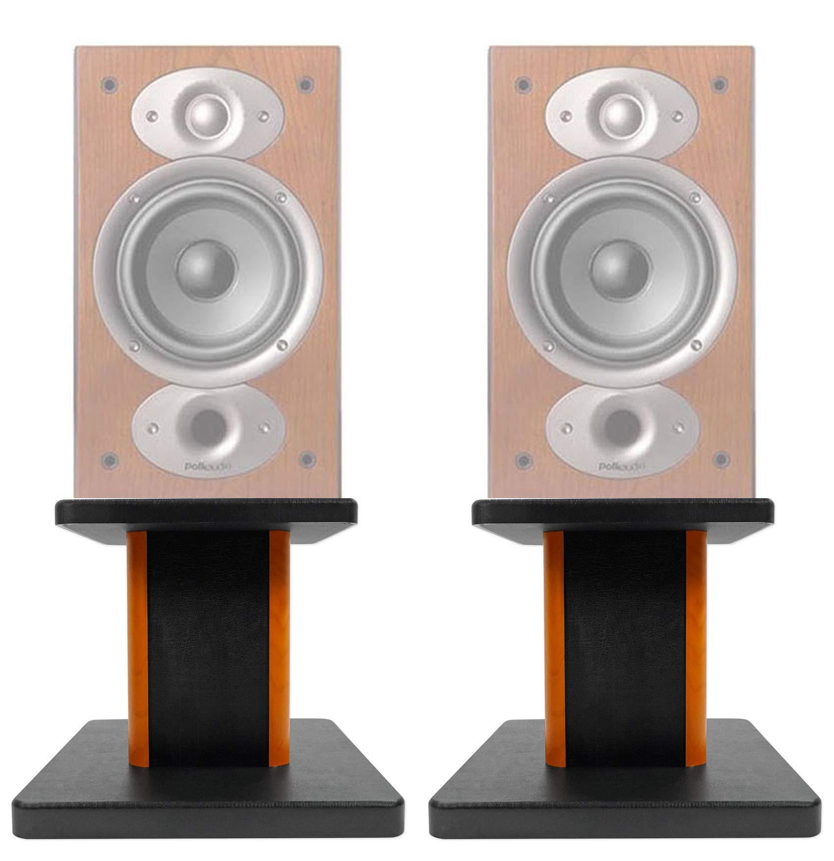 ROCKVILLE (2) 8'' Wood Bookshelf Speaker Stands for Polk Audio RTI A3 Bookshelf Speakers by ROCKVILLE