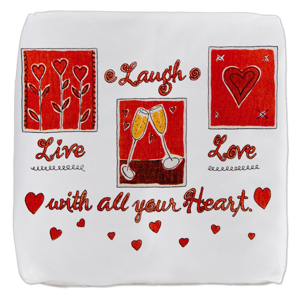 Amazon 18 Inch 6 Sided Cube Ottoman Laugh Live Love With Your