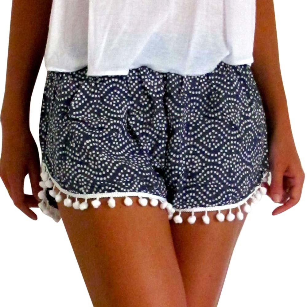 TRENDINAO Summer High-Rise Tassel Shorts, Women Polka Dot High Waist Tassel Shorts Casual Short Pants Trousers Navy