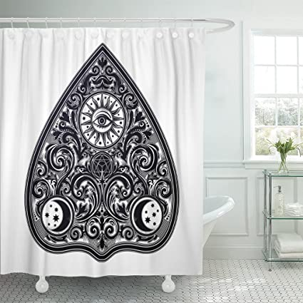 Emvency Shower Curtain Vintage Magic Ouija Board Oracle Antique Boho Chic Halloween And Tattoo Wicca Witchcraft